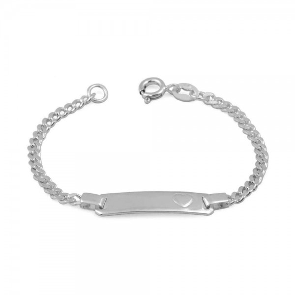 Baby & Toddler Jewelry - 5 In Sterling Silver Heart ID Bracelet For Girls