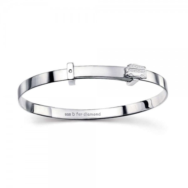 Children Sterling Silver Wheels on the Bus Diamond Accent Bangle (6 in)