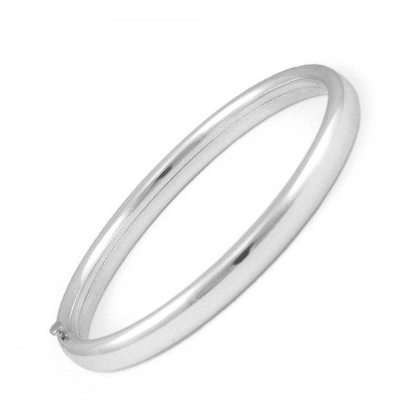 Toddler Jewelry For Boys And Girls - Sterling Silver Plain Bangle Bracelet (5 1/4 In)