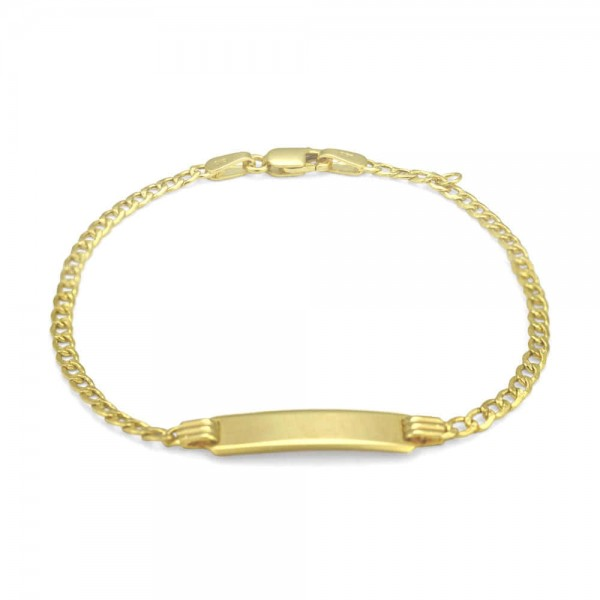 10K Yellow Gold Curb linked ID Bracelet For Boys And Girls (5 1/2, 6 or 7 Inches)
