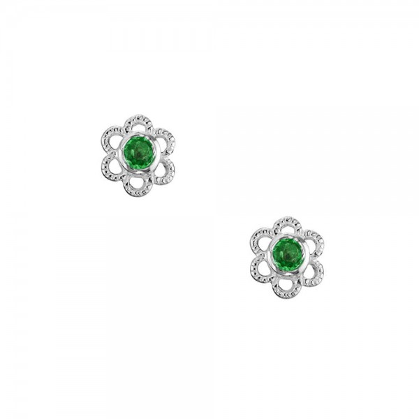 Girls Sterling Silver Synthetic Emerald May Birthstone Flower Earrings