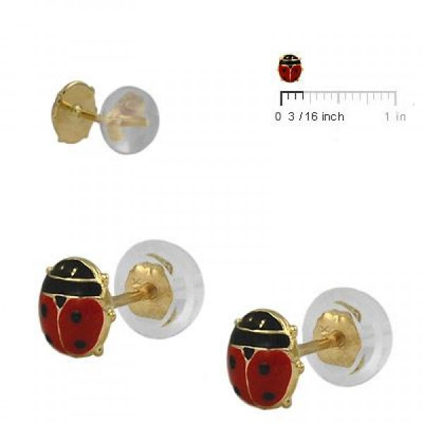 Baby And Toddler 14K Yellow Gold Red Ladybug Silicone Back Earrings