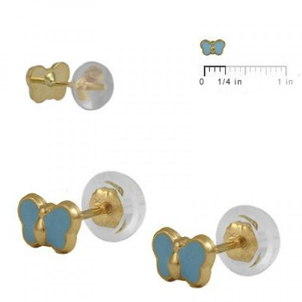 Baby & Toddler 14K Yellow Gold Blue Butterfly Silicone Back Earrings