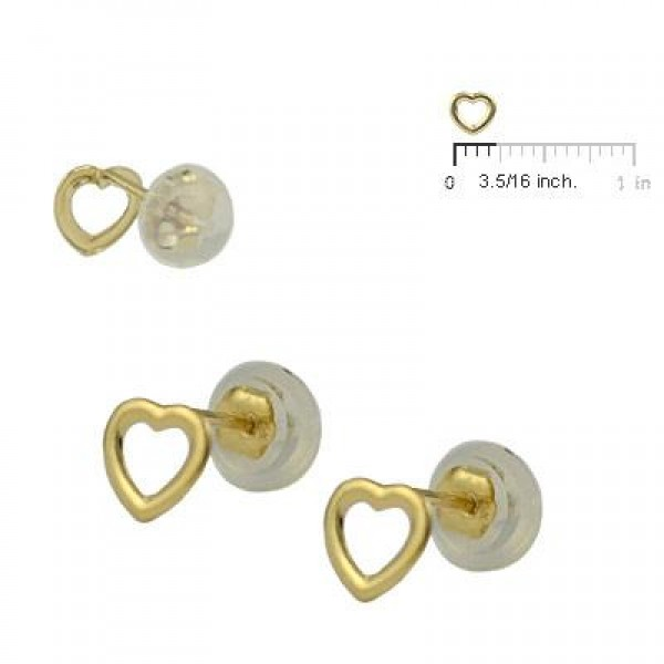 Baby & Toddler 14K Yellow Gold Open Heart Silicone Back Earring Studs