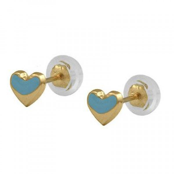Baby & Toddler 14K Yellow Gold Blue Heart Silicone Back Stud Earrings