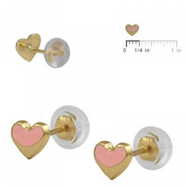 Baby & Toddler 14K Yellow Gold Pink Heart Silicone Back Stud Earrings