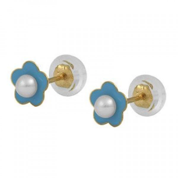 14K Yellow Gold Blue Flower Cultured Pearl Silicone Back Earrings For Girls