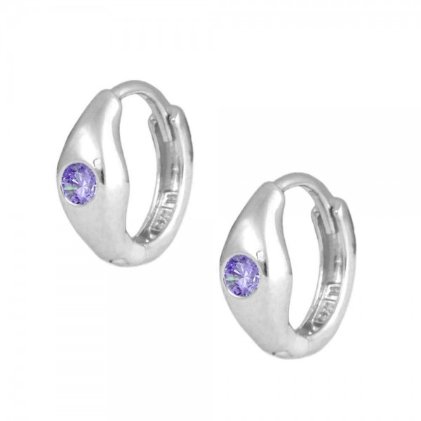 Children's Jewelry - Silver February Birthstone Huggie Hoop Earrings