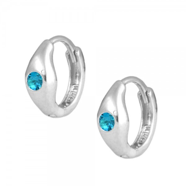 Children's Jewelry - Silver December Birthstone Huggie Hoop Earrings
