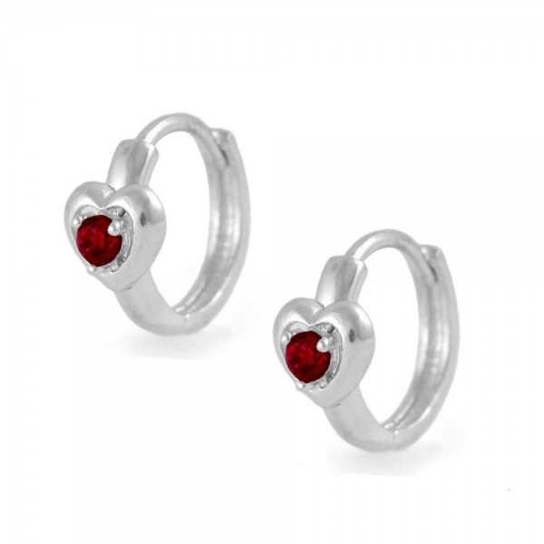 Kids Silver Heart January Birthstone Huggie Hoop Earrings For Girls
