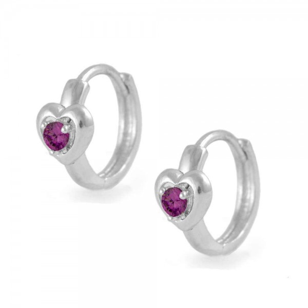 Kids Silver Heart July Birthstone Huggie Hoop Earrings For Girls