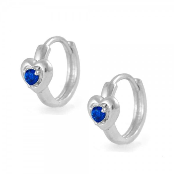 Kids Silver Heart September Birthstone Huggie Hoop Earrings For Girls