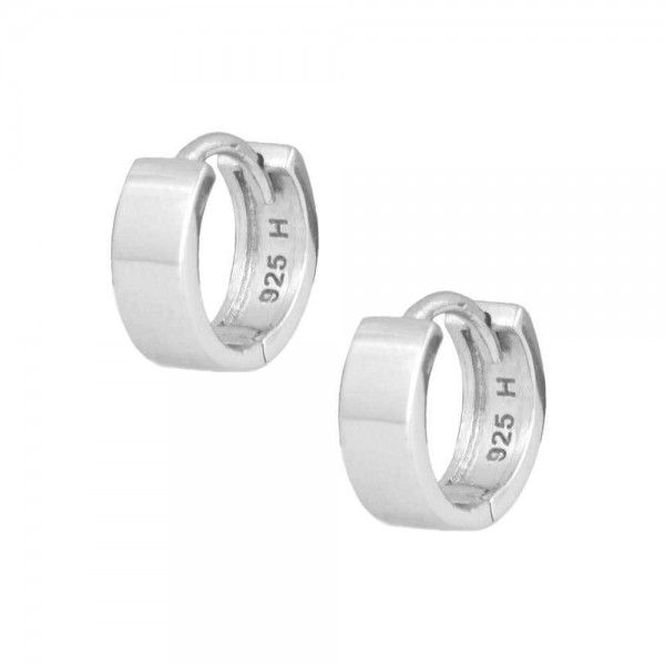 Kids Jewelry - Sterling Silver Wide Plain Huggie Hoop Earrings For Girls