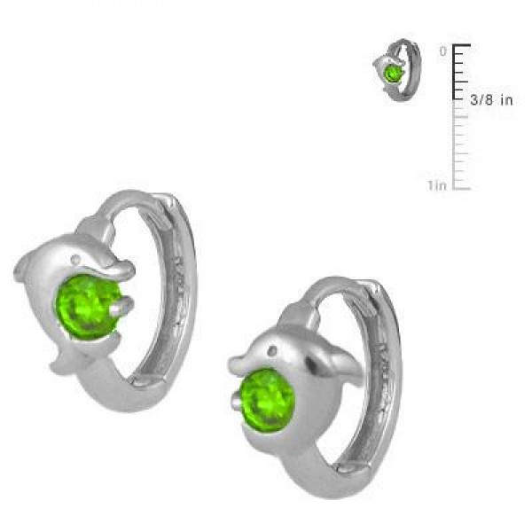 Kid Jewelry - Silver August Birthstone Dolphin Huggie Hoop Earrings