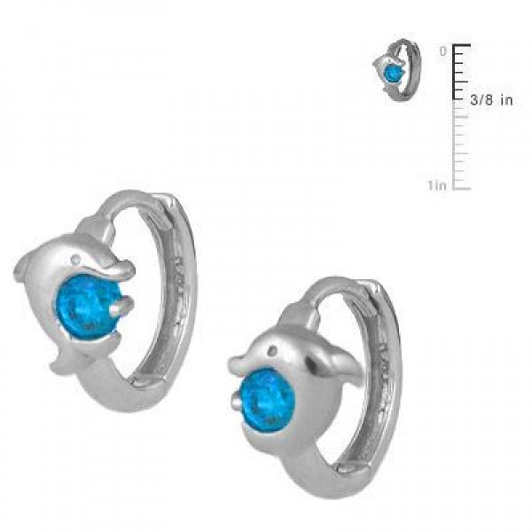 Kid Jewelry - Silver December Birthstone Dolphin Huggie Hoop Earrings