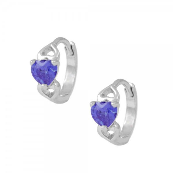 Silver Heart February Birthstone Hoop Earrings For Baby & Toddler Girls