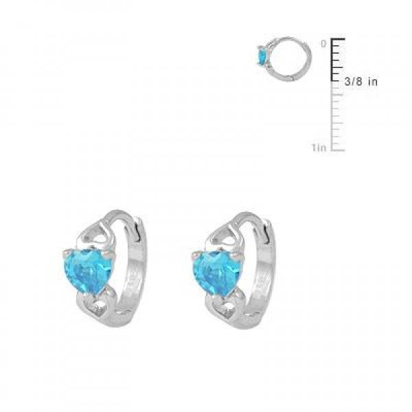 Silver Heart March Birthstone Hoop Earrings For Baby & Toddler Girls