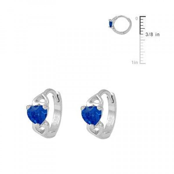 Silver Heart September Birthstone Hoop Earrings For Baby & Toddler Girls