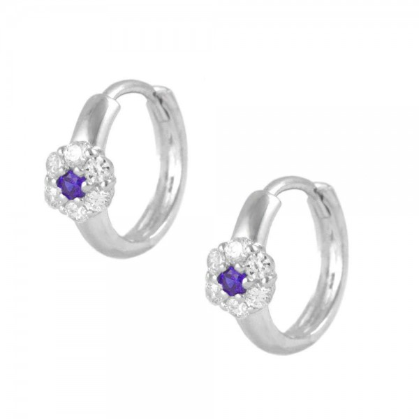 Girl's Sterling Silver CZ February Birthstone Flower Hoop Earrings