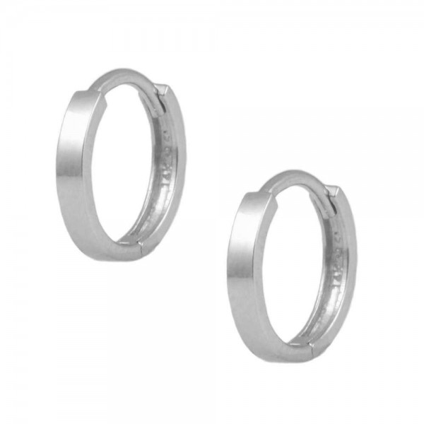 14K White Gold Flat Edge Plain Huggie Hoop Earrings For Children