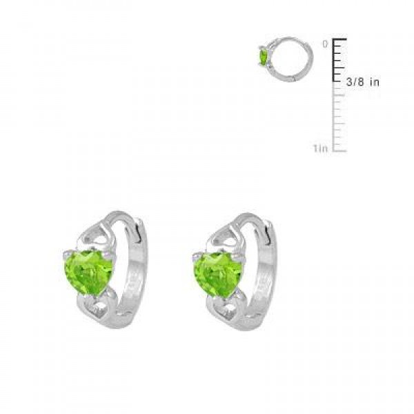 Baby & Toddler Girl 14K White Gold Heart August Birthstone Hoop Earrings