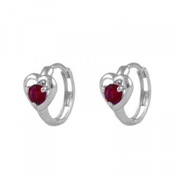 Baby And Toddler 14K White Gold Heart January Birthstone Hoop Earrings