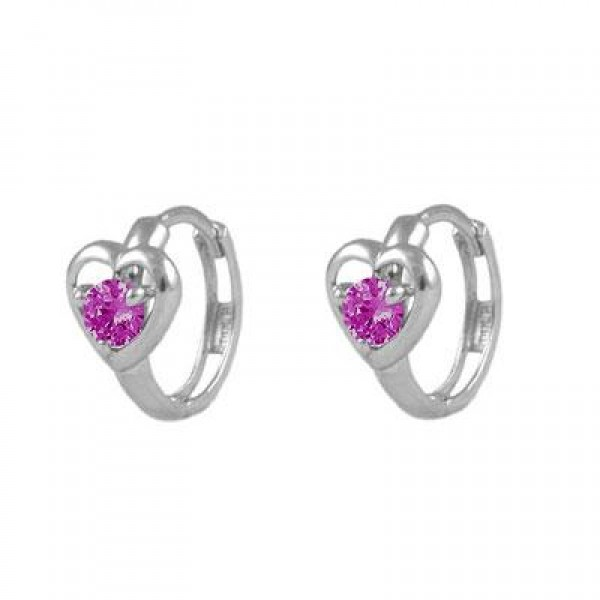 Baby And Toddler 14K White Gold Heart July Birthstone Hoop Earrings