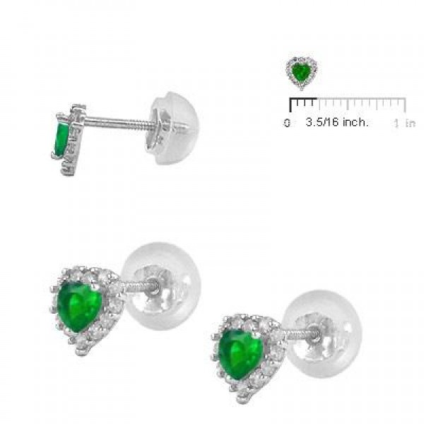 Little Girls 14K White Gold May Birthstone Silicone Back Heart Earrings
