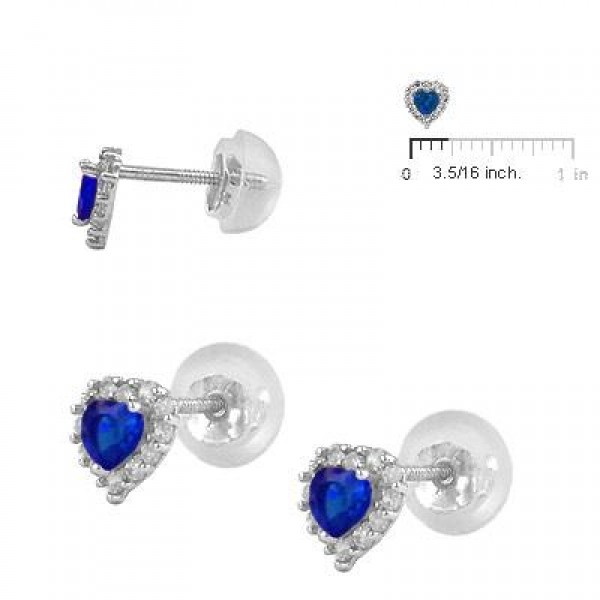 Little Girls 14K White Gold September Birthstone Silicone Back Heart Earrings