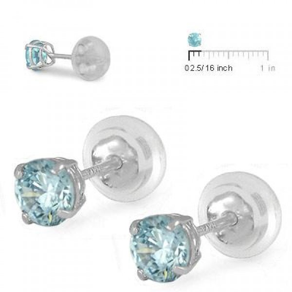 14K White Gold 4mm March Birthstone Silicone Back Girls Earrings