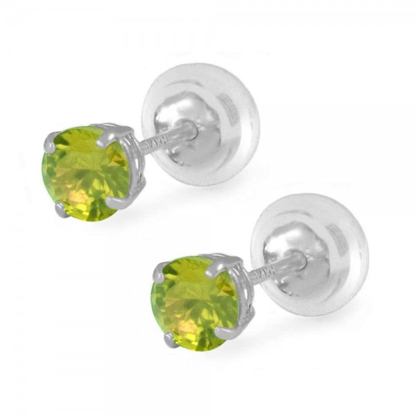 14K White Gold 4mm August Birthstone Silicone Back Girls Earrings