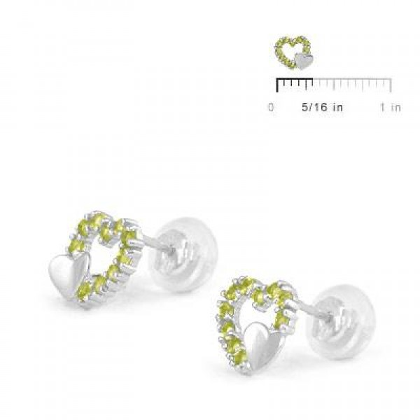 14K White Gold August Birthstone Double Hearts Girls Stud Earrings