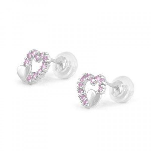 14K White Gold October Birthstone Double Hearts Girls Stud Earrings