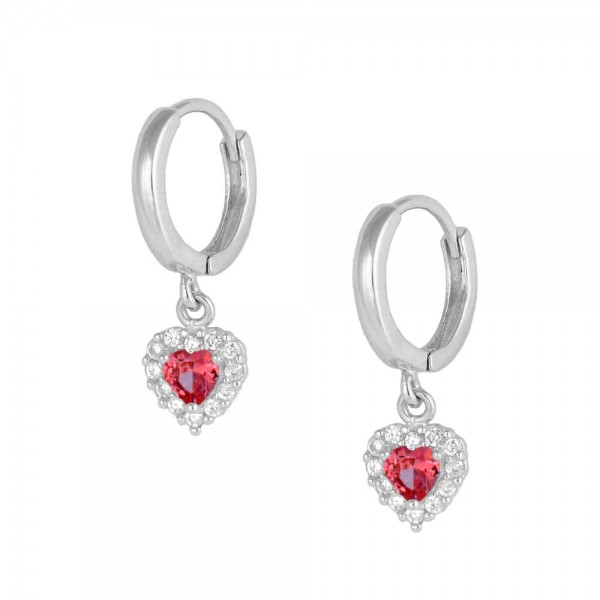 Baby Girl 14K White Gold January Birthstone Dangling Heart Huggie Earrings