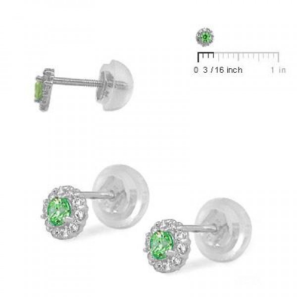 14K White Gold May Birthstone Baby And Toddler Flower Earrings
