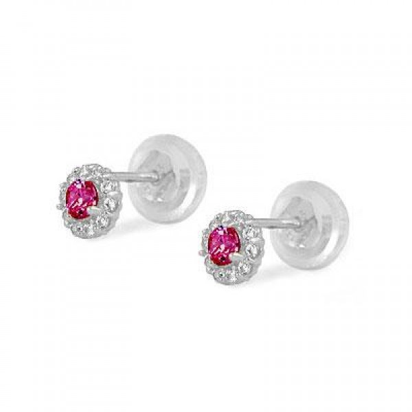 14K White Gold July Birthstone Baby And Toddler Flower Earrings