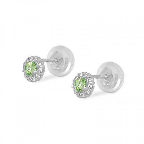 14K White Gold August Birthstone Baby And Toddler Flower Earrings