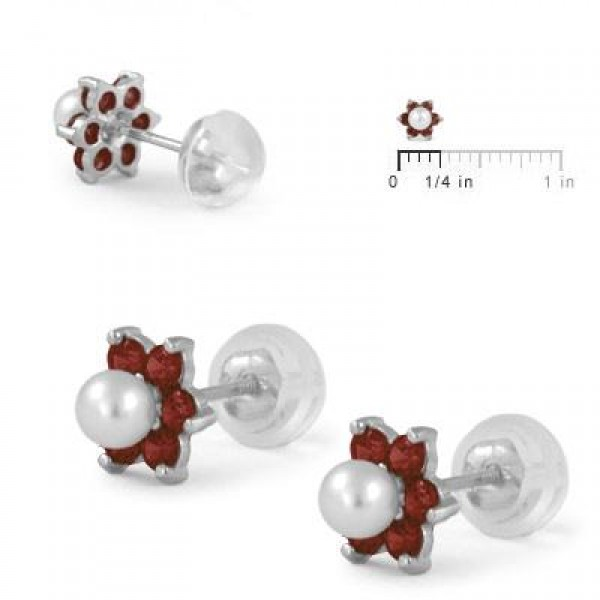 14K White Gold January Birthstone And Pearl Children Flower Studs
