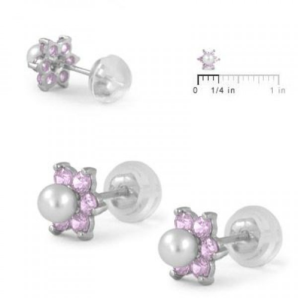 14K White Gold October Birthstone And Pearl Children Flower Studs