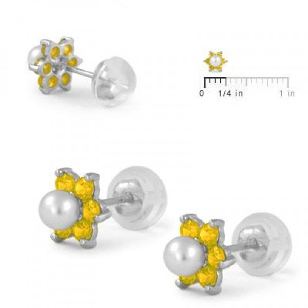 14K White Gold November Birthstone And Pearl Children Flower Studs