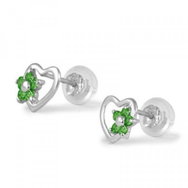 14K White Gold Heart May Birthstone Flower Girls Stud Earrings