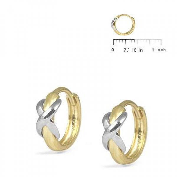 Girl's Jewelry - 14K Yellow And White Gold Two Tone XO Hoop Earrings