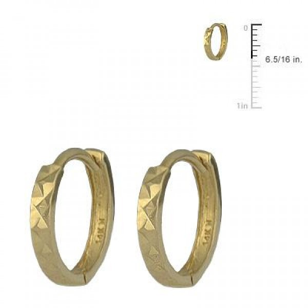 Children's Jewelry - 14K Yellow Gold Diamond Cut Huggie Hoop Earrings