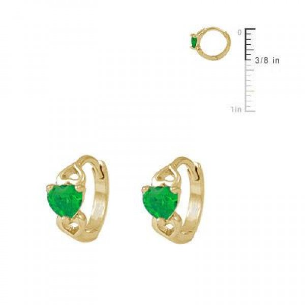 Baby & Toddler Girl 14K Yellow Gold Heart May Birthstone Hoop Earrings