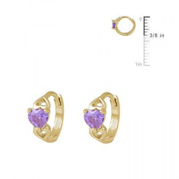 Baby & Toddler Girl 14K Yellow Gold Heart June Birthstone Hoop Earrings