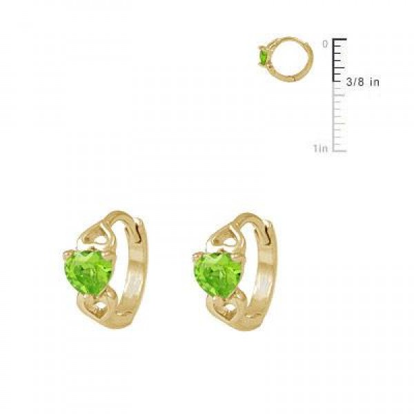 Baby & Toddler Girl 14K Yellow Gold Heart August Birthstone Hoop Earrings