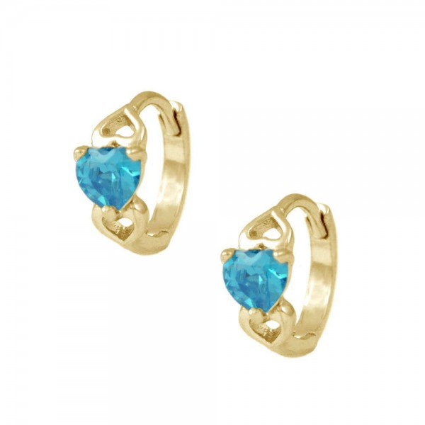 Baby & Toddler Girl 14K Yellow Gold Heart December Birthstone Hoop Earrings