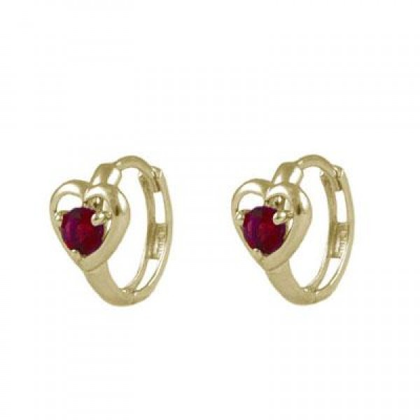 Baby And Toddler 14K Yellow Gold Heart January Birthstone Hoop Earrings