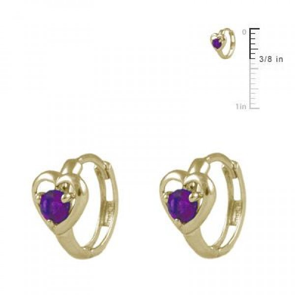 Baby And Toddler 14K Yellow Gold Heart February Birthstone Hoop Earrings