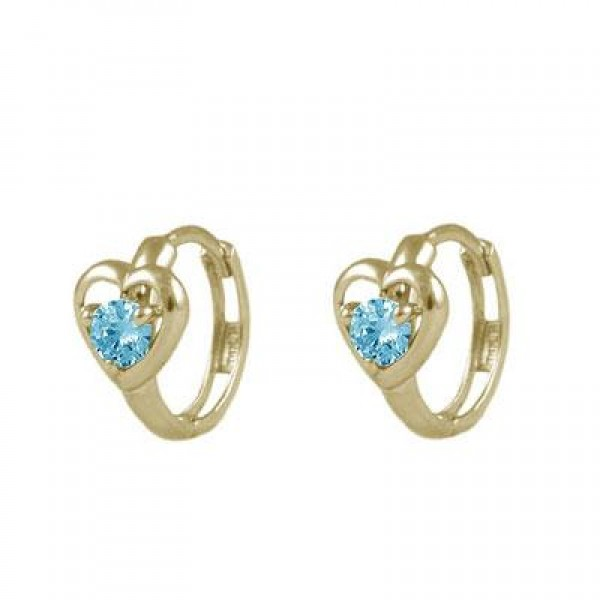 Baby And Toddler 14K Yellow Gold Heart March Birthstone Hoop Earrings